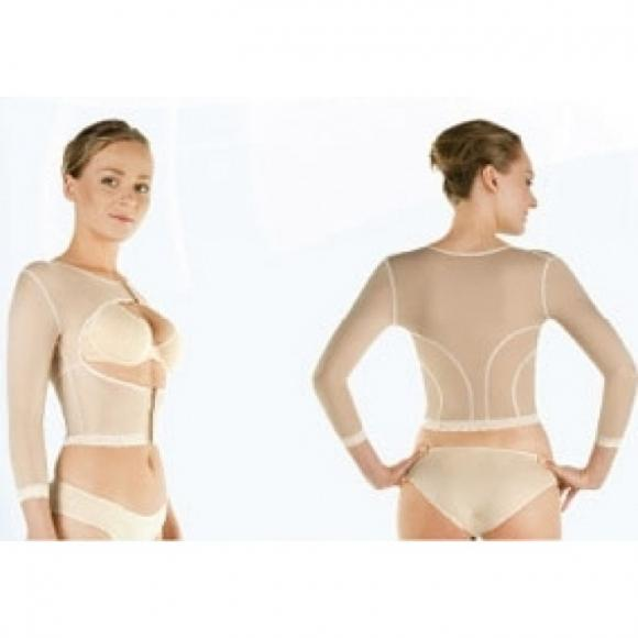 Компрессионный лиф послеоперационный с рукавами после мастэктомии, операции на молочной железе после операции на груди, плечах, руках