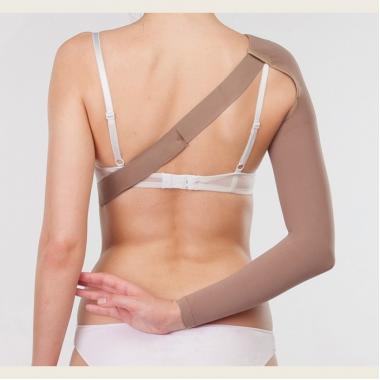 Компрессионный рукав после мастэктомии, операции на молочной железе, удлинненный с креплением на плечо 3 компрессии