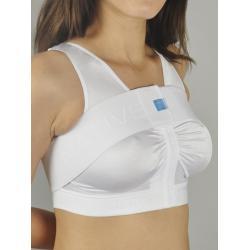 Компрессионный топ бюстгальтер со сборкой на крючках с лентой - стабилизатором после увеличения груди, маммопластики