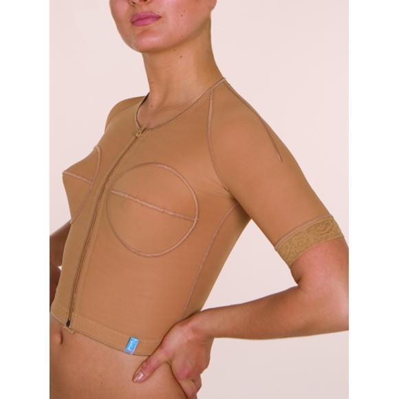 Компрессионная рубашка с коротким рукавом после операции на груди, спине, со сборкой